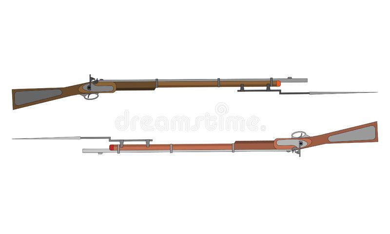 Two gun rifles with bayonets. Civil war ammo weapon element. To design banners for national USA holidays such as Independence, stock photos