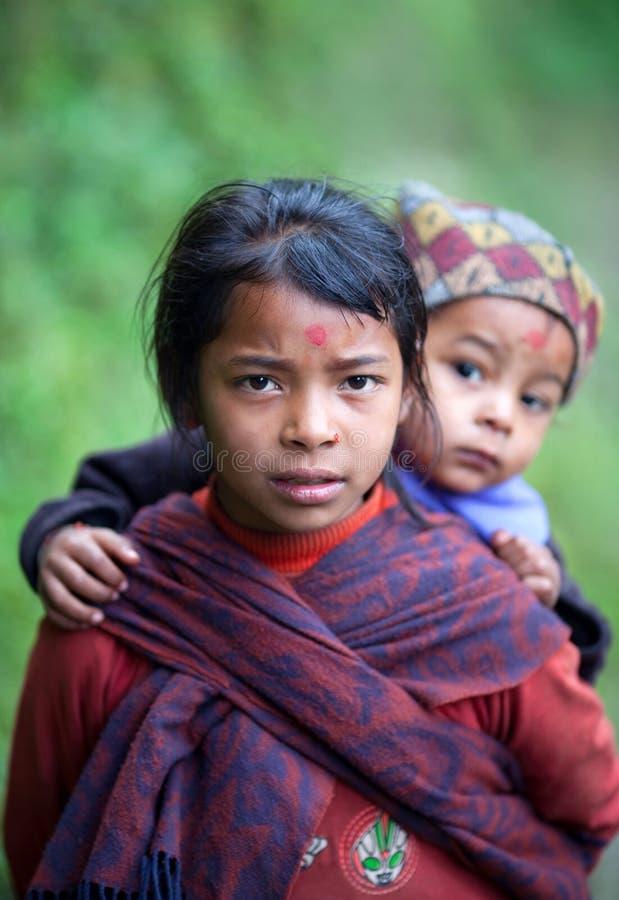 Two gurung children stock image