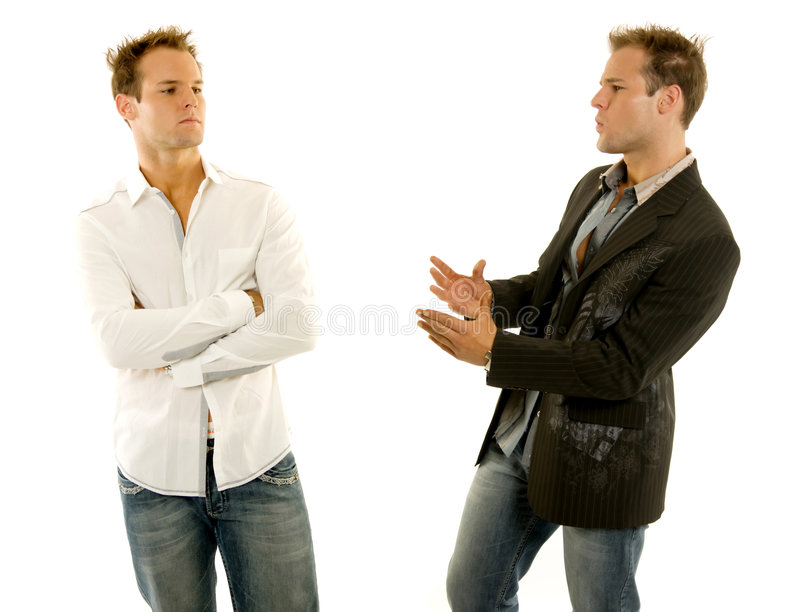 Two guys having a conversation royalty free stock images