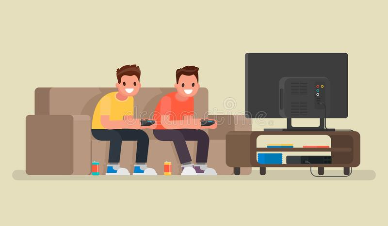 Two guys play video games on the game console. Vector illustration in a flat style royalty free illustration