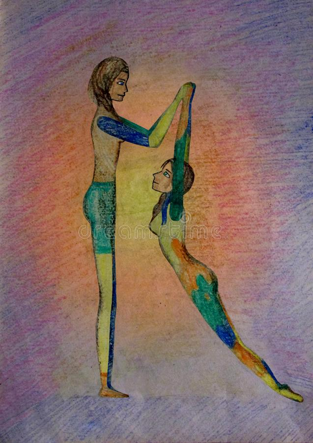 Two gymnast girls perform acrobatic pencil number graphics stock photo