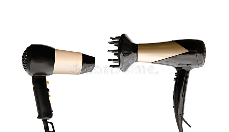 Two hair dryers royalty free stock images