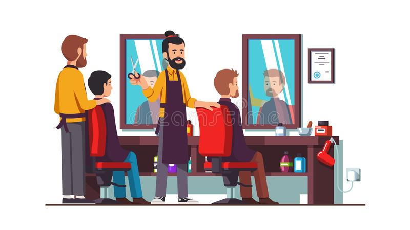 Two hairdresser barbers doing male clients haircut stock illustration