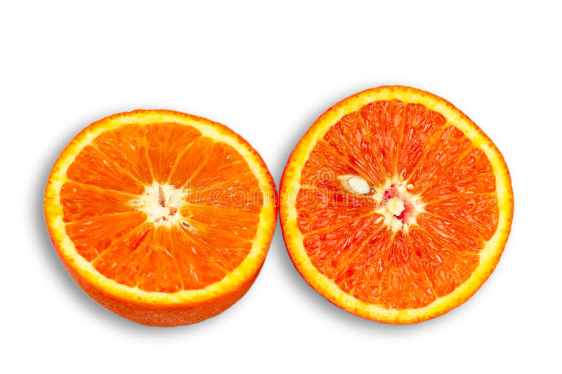 Two Half of blood red orange royalty free stock images