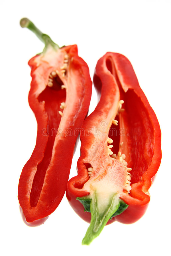 Free Two Half Of Sliced Red Pepper Royalty Free Stock Photos - 2842088