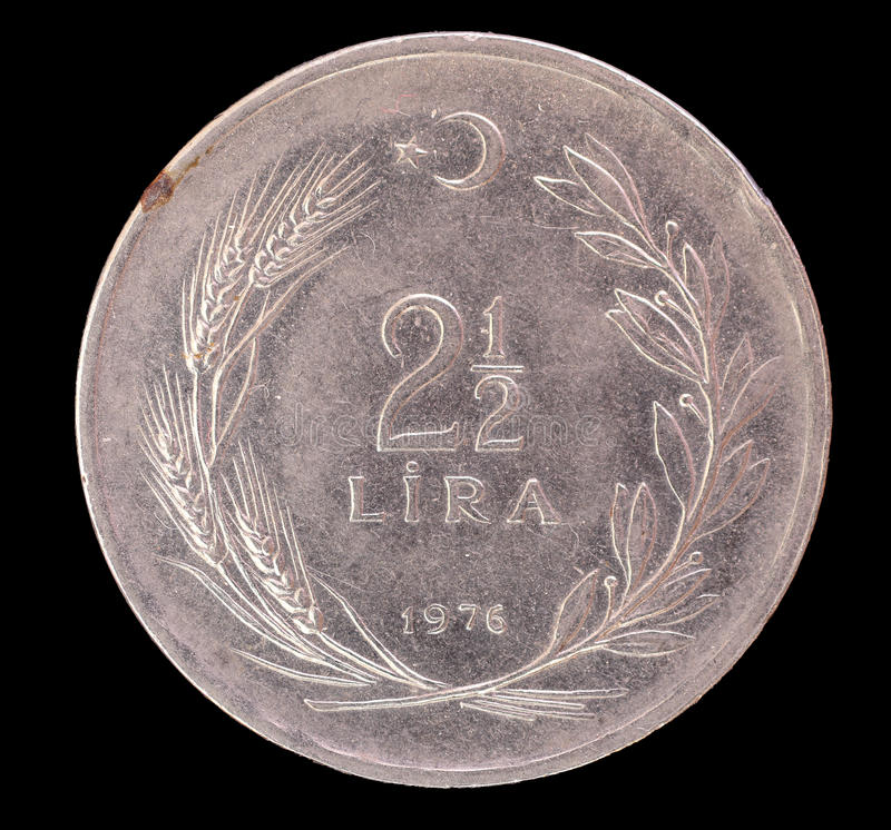 Two and half old Turkish lira coin, 1976 stock images