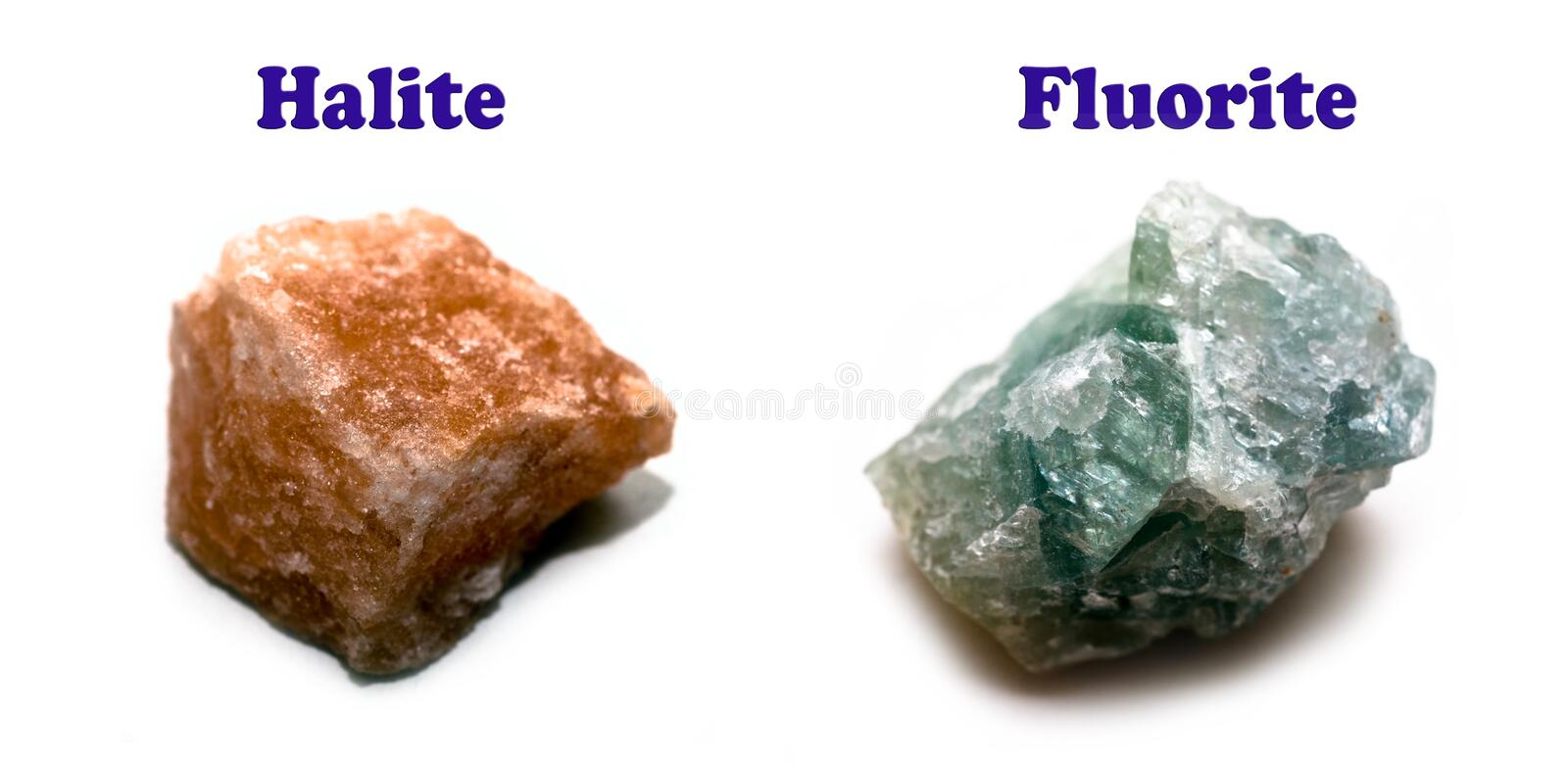 Two halide minerals stock image