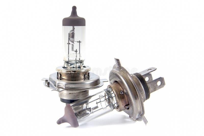 Two of Halogen car bulb isolated on white background, Headlamp bu. Lb isolated stock images