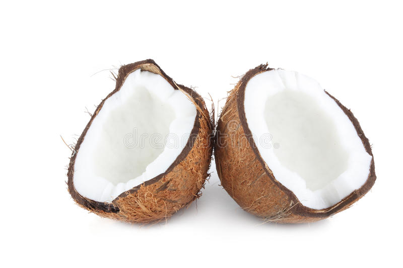 Two halves of coconut royalty free stock photos
