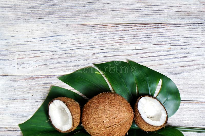 two halves of coconut and one whole coconut with a leaf of tropical monstera plant on a white wooden background. Flat layer, top royalty free stock images