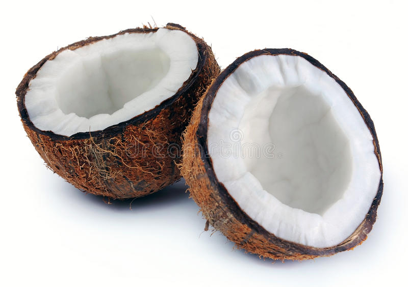 Two halves of a coconut royalty free stock image