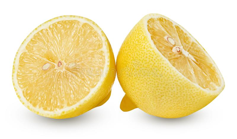 Two halves of a lemon on a white isolated background. Good texture and shape. Clipping path royalty free stock photos