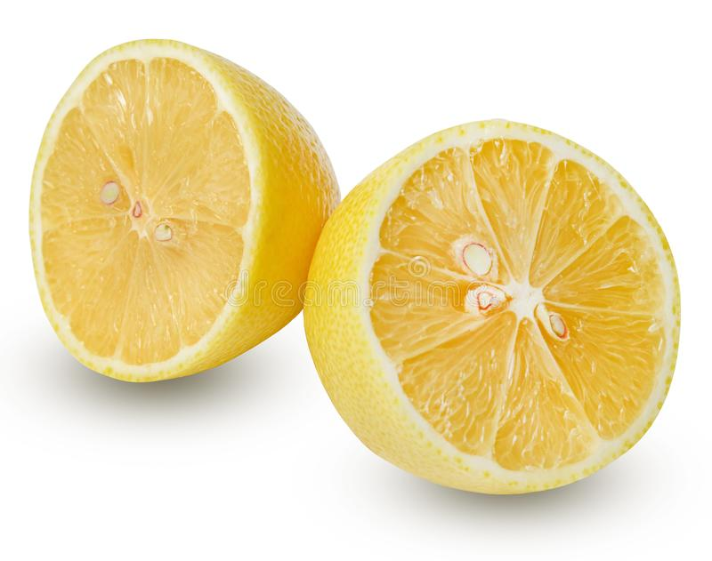 Two halves of a lemon on a white isolated background. Good texture and shape. Clipping path royalty free stock image