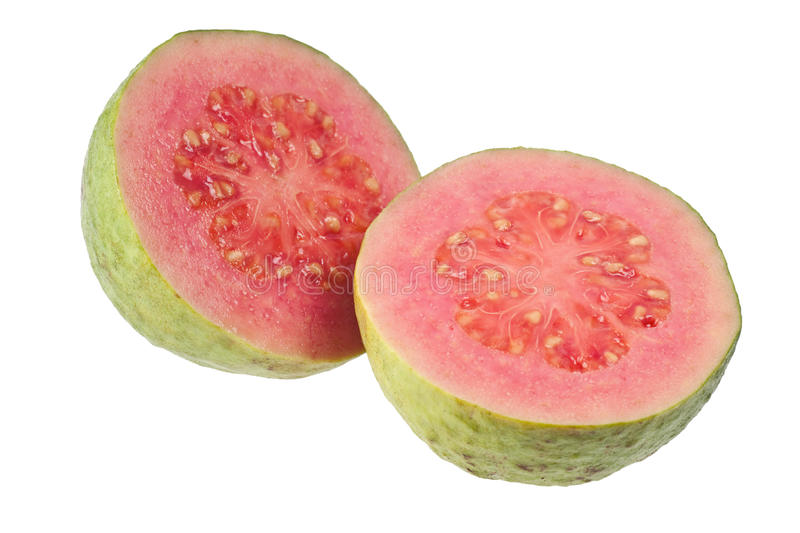 Two halves pink guava stock photography