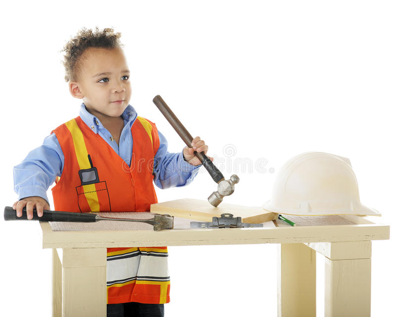 Download Two Hammer Tot stock photo. Image of tool, adorable, saftey - 24387710