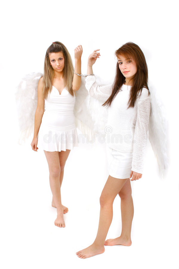 Download Two Hand Cuffed Angels stock image. Image of love, wings - 1420451