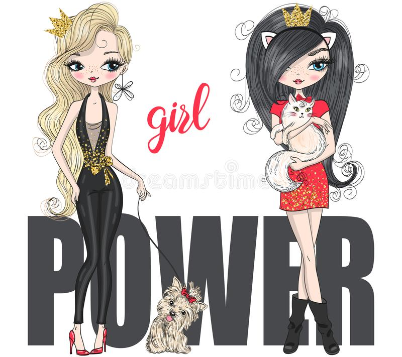 Free Two Hand Drawn Beautiful Cute Fashion Girls Power Shopping. With Little Dog. Stock Image - 154171601
