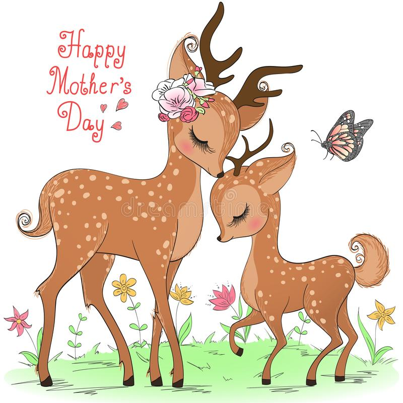 Free Two Hand Drawn Cute Deer Girls. Happy Mothers Day. Stock Images - 144667624