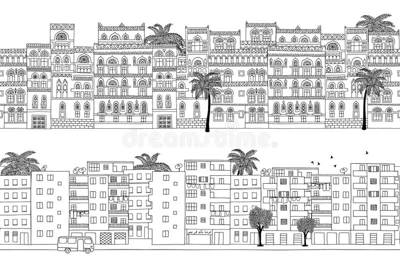 Two hand drawn seamless city banners of Middle Eastern houses stock illustration