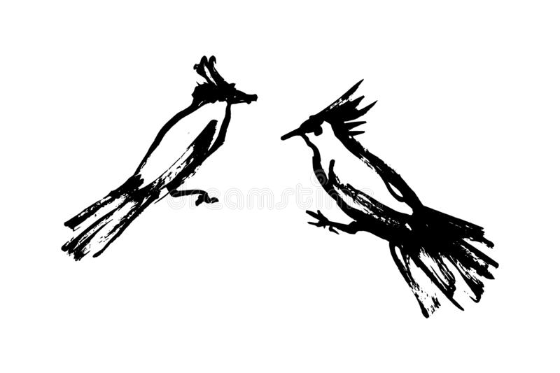 Two hand drawn simple stylized wild birds. Vector animal illustration, hand drawn graphic silhouettes painted by ink vector illustration