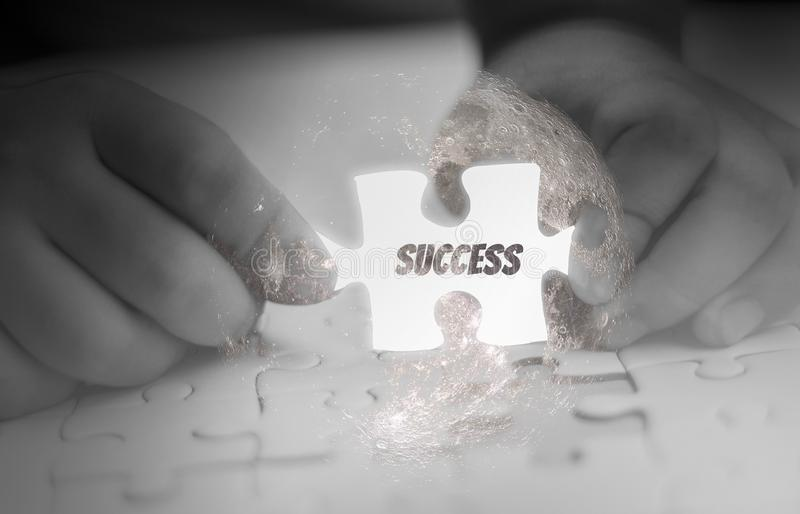Two Hand holding, jigsaw puzzle piece glowing white, abstract concept business with success and goals and corporate strategy, royalty free illustration