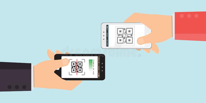 Two hand holding mobile phone to scanning QR code,Electronic scan digital technology flat design Vector illustration royalty free illustration