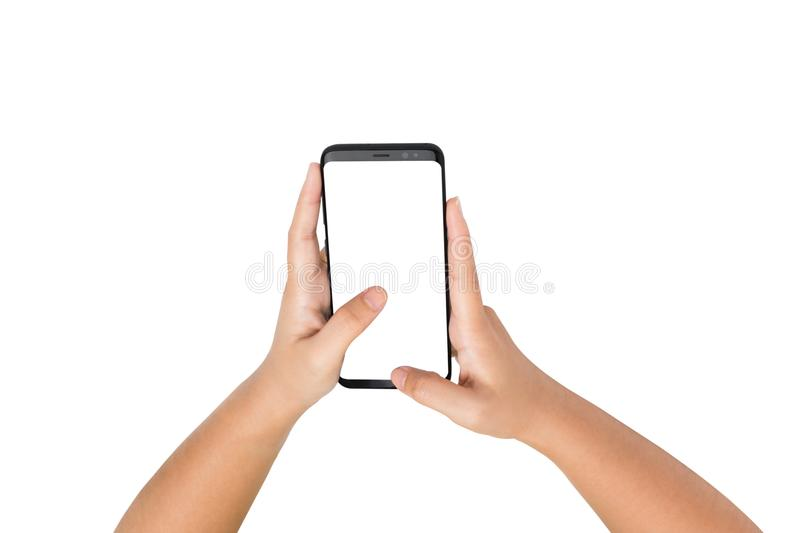 Two hand holding smart phone blank on white screen royalty free stock photo