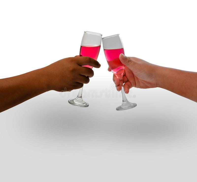 Two hand holding wine glass stock images