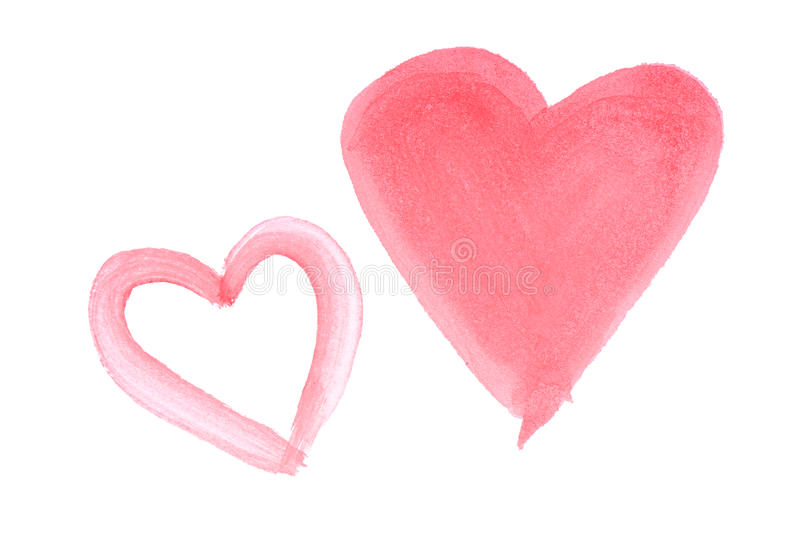 Two hand painted red watercolor hearts. Isolated on white background royalty free stock photo
