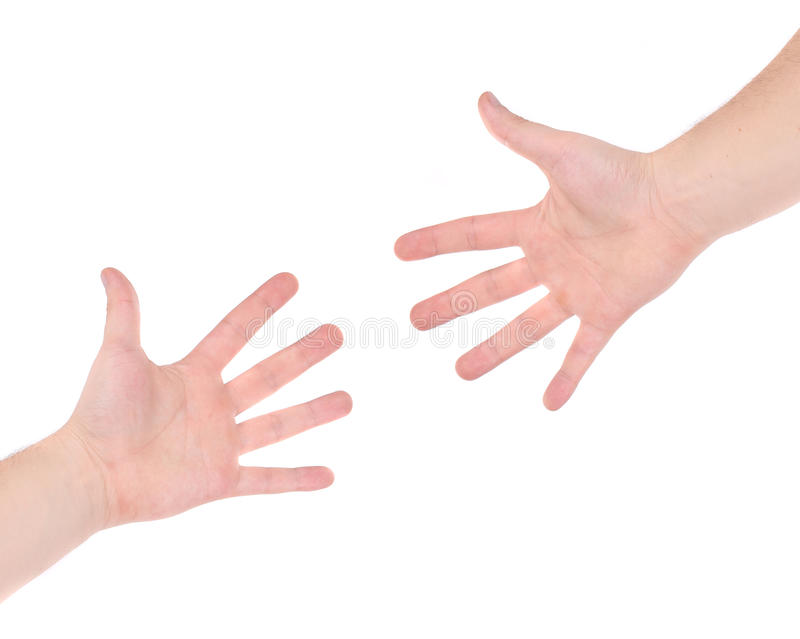 Two hand reaching each other. stock image