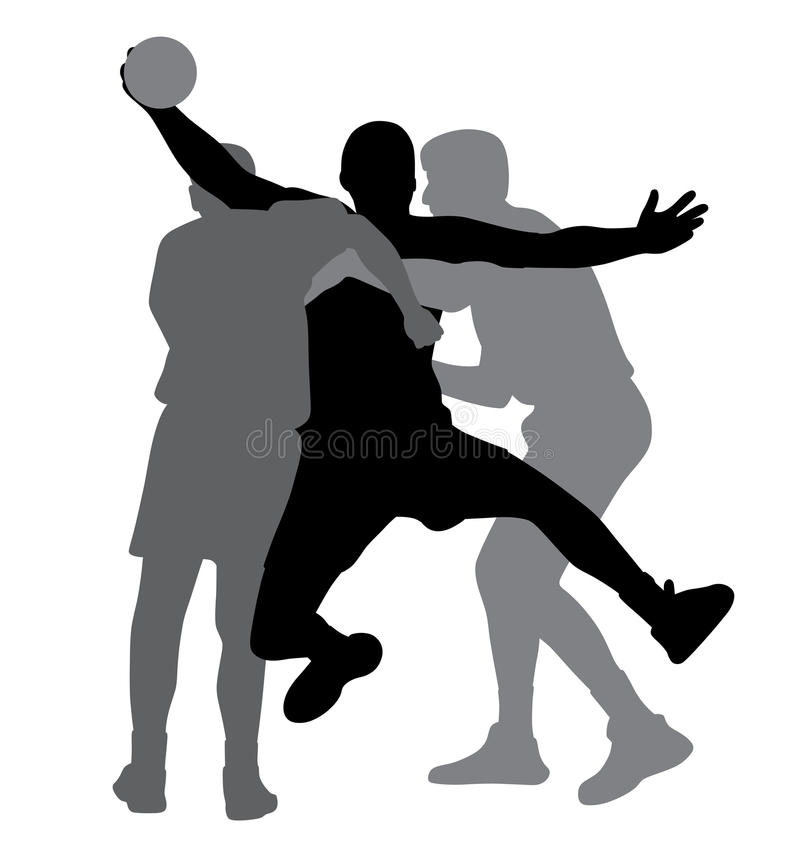 Two handball players blocking opponent player. Illustration of two handball players blocking opponent player. Isolated white background. EPS file available stock illustration
