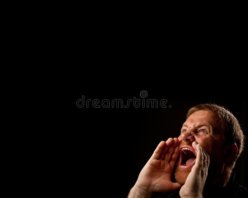Download Two Handed Shout stock photo. Image of angry, black, anger - 6961428