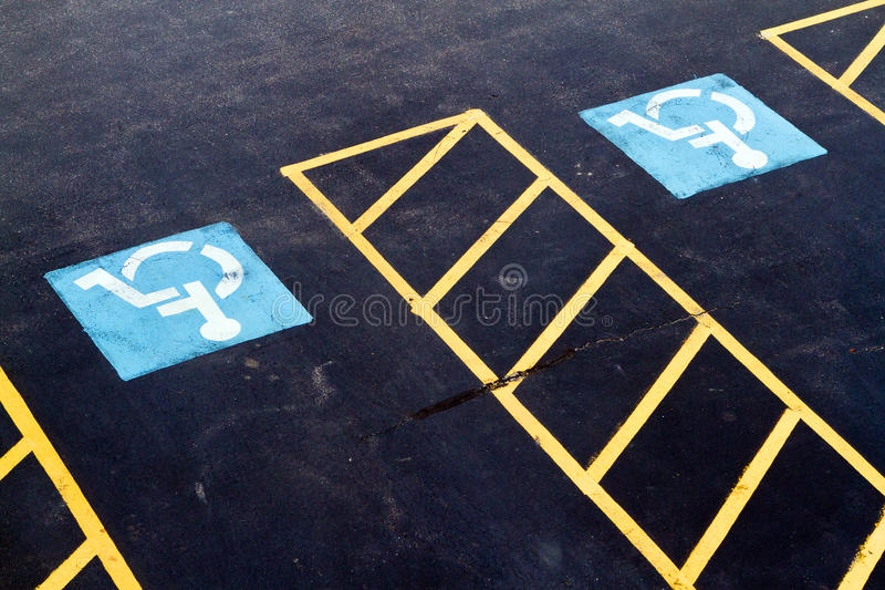 Two handicapped parking spots royalty free stock images
