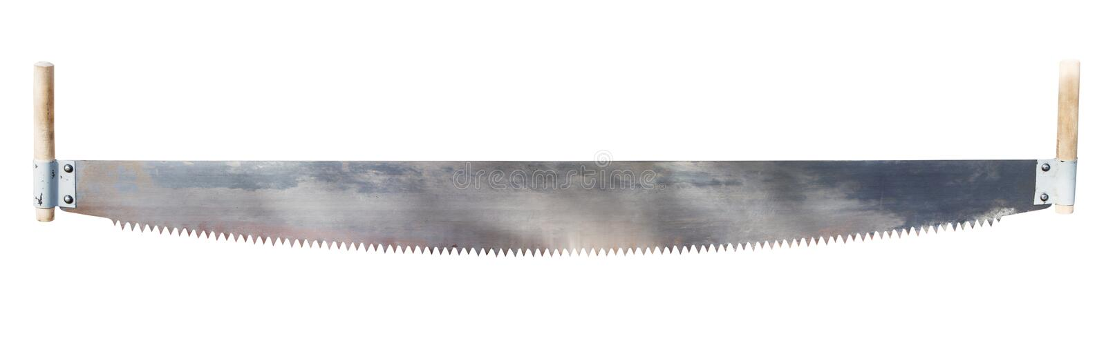 Two-handled saw isolated on white. Two handled saw isolated on white background royalty free stock photography
