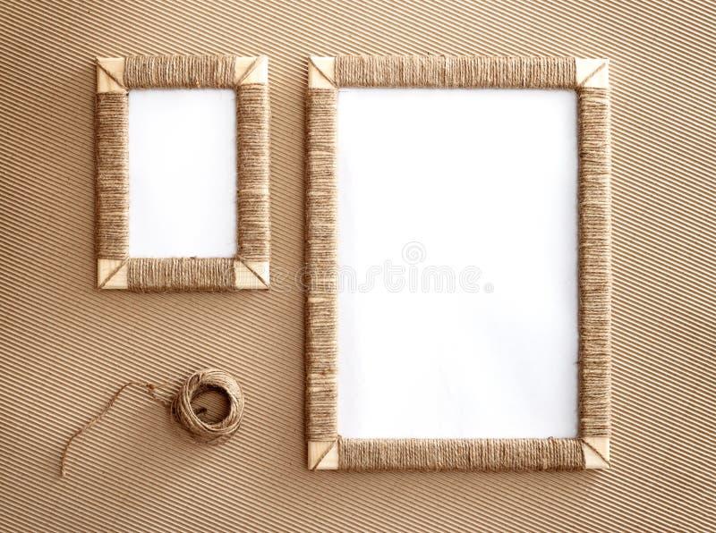 Two Handmade Photo Frames Braided Jute Against Corrugated Fibreboard ...