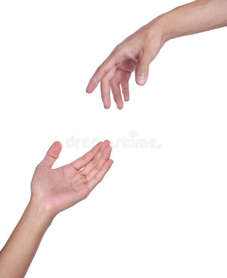 Two hands. Isolated on a white background stock photos