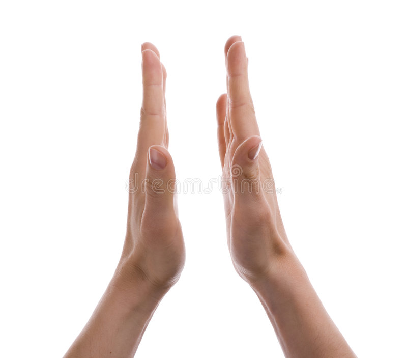 Two hands. Making ovation. White background royalty free stock image