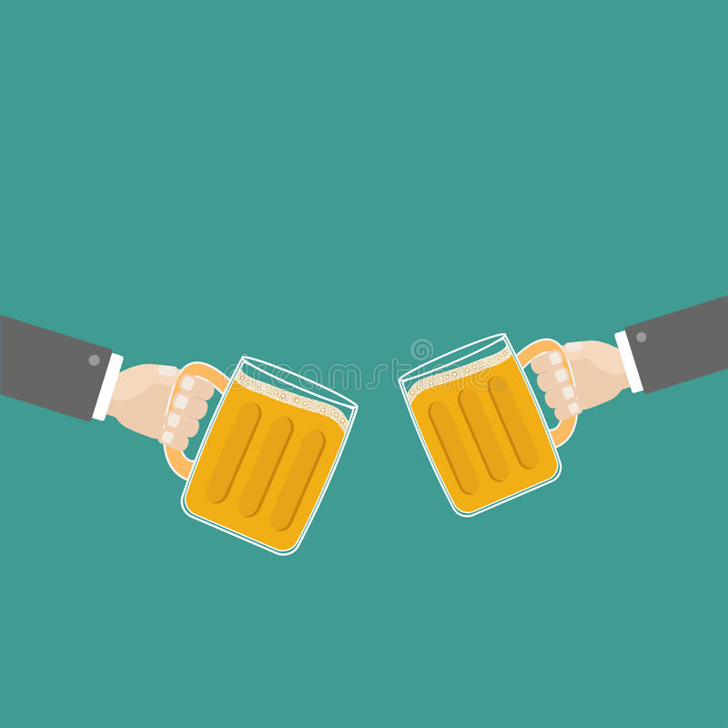 Two hands and clink beer glasses mug with foam cap froth bubble. Flat design stock illustration