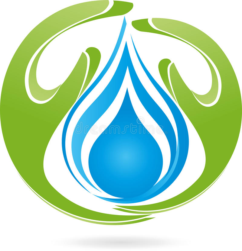 Two hands, drops, water, nature, logo. Two hands and drops, water and nature logo royalty free illustration