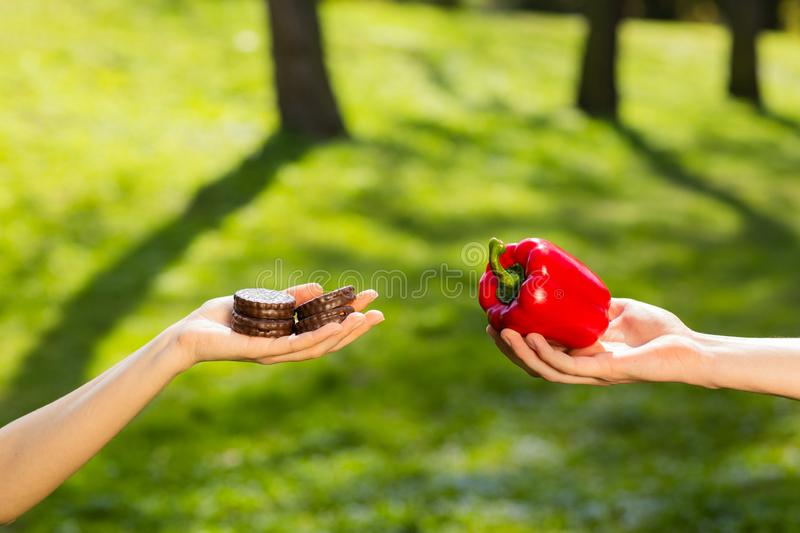 Two hands, female and male, holding and comparing cookie and red pepper. Background of the green park royalty free stock photos