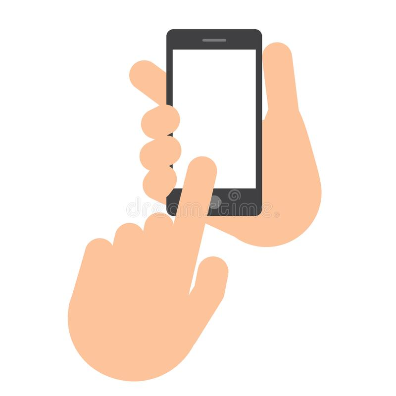 Two hands. The hand holds the smartphone. stock illustration