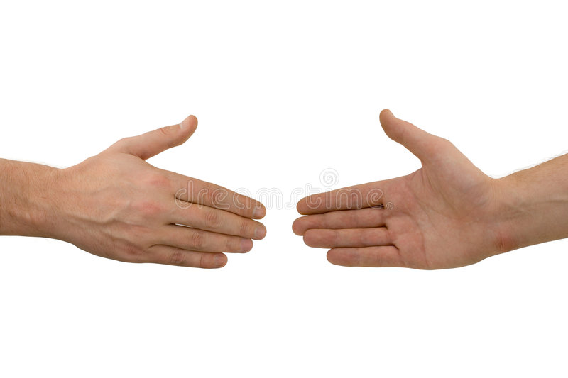 Two hands before handshake royalty free stock photos