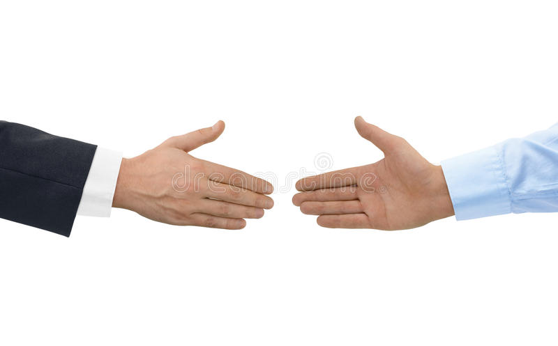 Two hands before handshake royalty free stock photo