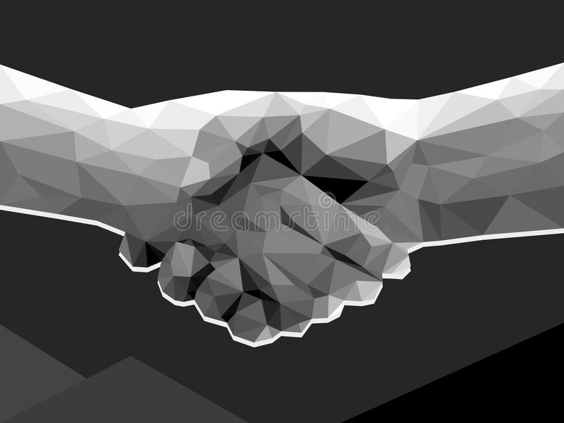 two hands handshake polygonal low poly contract agreement monochrome on dark background stock illustration