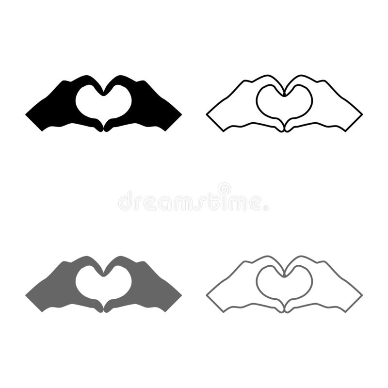 Two hands have shape heart Hands making heart symbol silhouette icon set grey black color illustration outline flat style simple vector illustration
