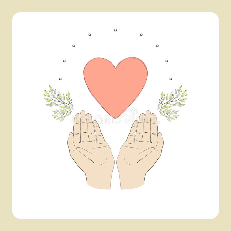 Two hands and heart2 stock illustration