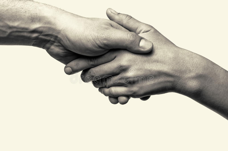 Two hands - help. Two hands (helping hand to a friend