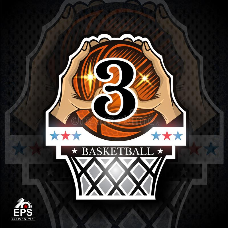 Two hands hold basketball ball with number 3 above basket. Sport logo. For any team or competition vector illustration