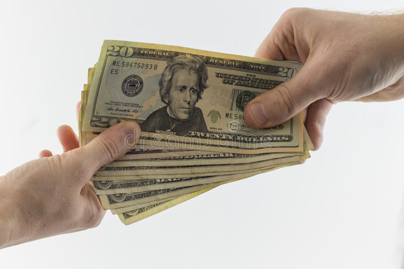 Two hands holding American Cash royalty free stock photography
