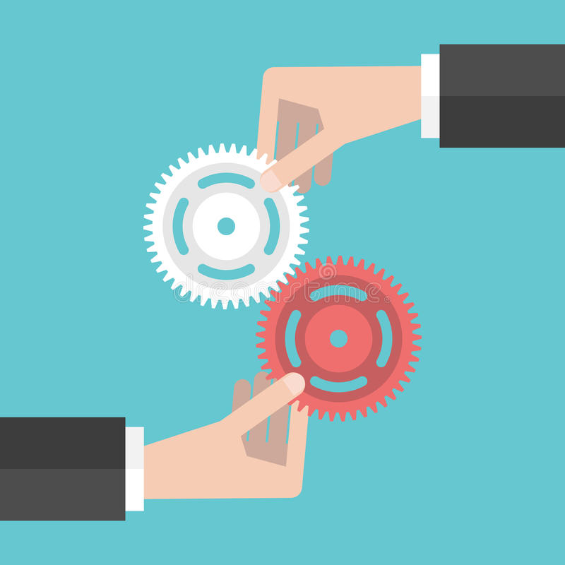 Free Two Hands Holding Gears Stock Image - 71605001